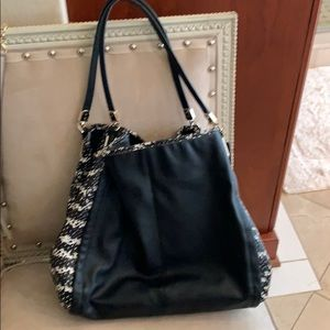 Coach black and white leather bag